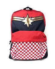 Vans Captain Marvel Backpack School Bag Skate New Red Navy Check Checkerboard