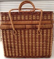 VINTAGE CIRCA 1987 LARGE PICNIC BASKET WITH PLATES, CUPS, FLATWARE