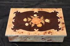 Old Floral Vintage Italian Wood Music Box Works