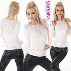 New Women's Ladies Scoop Neck Jumper Sweater Knit Top Knitwear Size 6 8 XS S