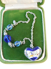 Cobalt Blue Foiled Dichroic Art Glass Crystal Bead Silver tone Anklet 8L 25
