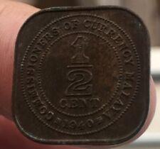 1940 Malaya  1/2 cent coin very good  grade!