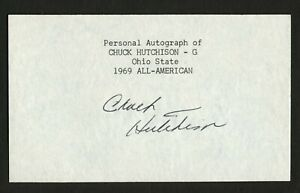 Chuck Hutchison signed autograph 3x5 cut Ohio State Football Player AA F064