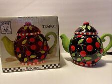 "Mary Engelbreit Teapot Black ""Cherries"" Sakura Inc Cherries At Home 1995"