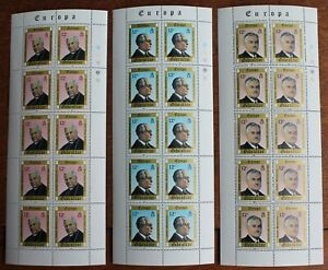 Gibraltar – 1980 – Europa Personalities - 3 Complete Sheetlets (30) UM (R7)