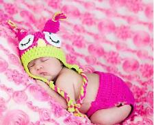 Newborn Baby Girl Hot Pink Owl SET Hat + Nappy Cover Crochet Photo Props 0-3mos