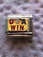 """USA WIN"" 9MM ITALIAN CHARM-UNITED STATES OF AMERICA, OLYMPICS"