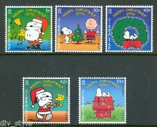 Snoopy Christmas Peanuts set of 5 mnh stamps 2001 Gibraltar Charlie Brown