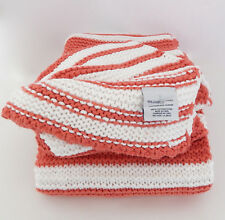 "WILLIAMS SONOMA HOME SOFT KNIT STRIPE 50"" X 60"" THROW - CORAL/WHITE - NEW"