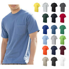 Hanes Mens Beefy-T Pocket Tee Crew neck Plain Cotton T-Shirt S-3XL - 5190