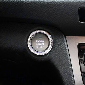 One-Key Car Engine Start Stop Ignition Push Button Ring Cover Trim Silver Parts