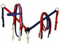 Showman Red, White & Blue Nylon Headstall & Breast Collar Set w/ Reins