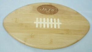 """NFL New York Jets Engraved Bamboo Touchdown Football 15"""" Serving/Cutting Board"""