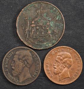 1867/1880/1882, Romania (Kingdom), Carol I. Copper 5 & 2 Bani Coins.(F-VF) 3pcs!