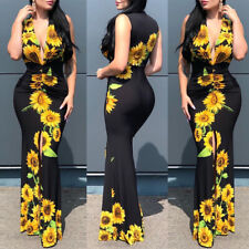 Damen Blumen Bodycon Party Abendkleid Sexy Ärmellos Ballkleid Kleider Clubwear