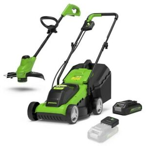 Greenworks Cordless 24v Lawn Mower & Line Trimmer with Battery