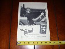 1957 CARROLL SHELBY CASTROL OIL - ORIGINAL VINTAGE AD