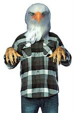 ADULT AMERICAN BALD EAGLE BIRD HEAD PHOTO PRINT MASK & GLOVES COSTUME KIT GC5047