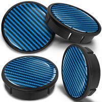 4 x 60mm - 56mm Universal Blue Black Car Rims Alloy Wheel Center Hub Centre Caps
