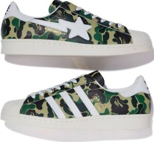 A BATHING APE BAPE X ADIDAS SUPERSTAR 80S CAMO GREEN WHITE GOLD GZ8981 SIZE 6