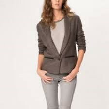 Maje Basic Cardigan With Leather Detail Size 1 (UK 8) Box46 48 A