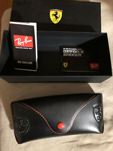 Ray Ban Sunglasses Eyeglasses FERRARI Leather Case Made in In Italy New Set