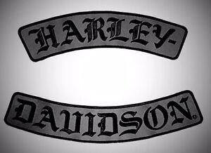 "HARLEY DAVIDSON ROCKER PATCH SET DARK GRAY & BLACK LARGE 12"" SHIPS INTERNATIONAL"