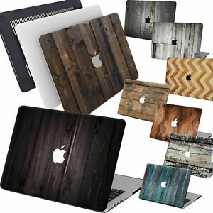 """Wood Painted Rubberized Hard Case Cover For Macbook Pro Air 11"""" 13"""" 15 Touch Bar"""
