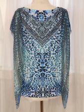 CHICO'S Shirt Blue Embellished Ruffle Size 2W Blouse