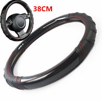 Car Steering Wheel Cover Soccer Pattern Splice Leather Universal Fits Most 38CM