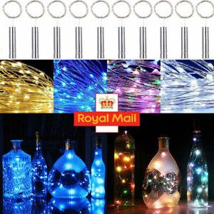 20 LED 2M Cork Shaped LED Night Starry Light Wine Bottle Lamp for Xmas Party UK