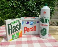 Collectable Vintage Persil Laundry Tin FAIRY Bottle Flash Detergent FULL Bundle
