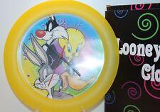 Looney Tunes Sylvester Cat, Tweety Bird, Daffy Duck, Bugs Bunny Yellow Clock NIP