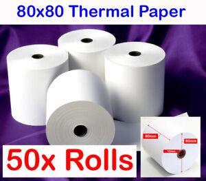 DailyPOS 50x Rolls 80x80mm Thermal Paper Rolls POS Cash Register Receipt Roll