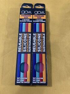 Gosili Standard Size 8 Silicone Reusable Straws