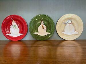 "Lot of 3 Sakura Snowmates Red, Green, Beige  Snowman Plate 8 1/2""Unused"