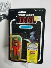Vintage 1983 Star Wars B-Wing Pilot 77 back MOC Coin Offer dented bubble kenner