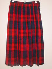 """Pendleton red blue plaid pleated wool skirt 31"""" long Made in USA paisley print-8"""