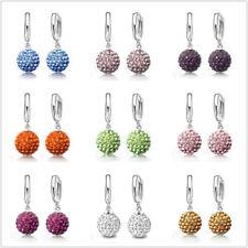 NEW CZ Disco Ball Hoop Earrings For Women Girls Gift Austrian Crystal Jewelry