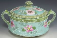 NIPPON HAND PAINTED ROSES MORIAGE COVERED CRACKER BISCUIT JAR