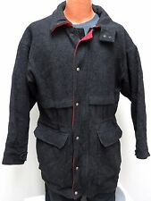vtg Woolrich DEEP CHARCOAL Wool Jacket M MED Plaid Lining USA 80s Snap/Zip rare