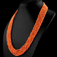 GENUINE 259.00 CTS NATURAL 5 STRAND ORANGE CARNELIAN FACETED BEADS NECKLACE (DG)