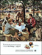 1951 John Gannam art Picnic at New Homesite US Beer Brewers vintage print ad L63