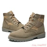 FU Mens Outdoor Boots Canvas Leather Military Tactical Army Combat Boots Shoes