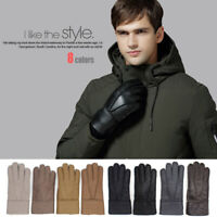 Real Genuine Sheepskin Shearling Leather Gloves Winter For Warm Mitten Men Adult