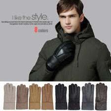 Real Genuine Sheepskin Shearling Leather Gloves Winter For Warm Mitten Men Adult