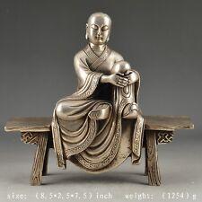 Oriental White Copper Old Handwork Hammered Vivid Monk Statue Decor Collectable