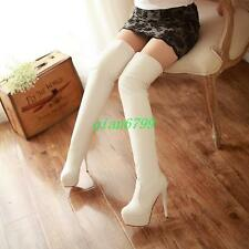 Hot Ladies womens over knee high tight  leg boots clubwear cosplay heels shoes