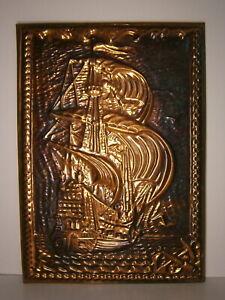 Sailing Ship Vtg Soviet Art Embossed Metal Picture Sea Ocean Sailboat Painting
