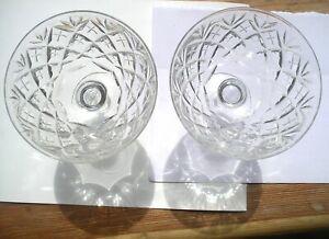 Antique vintage pr champagne cocktails soucoup saucers cut crystal baluster stem